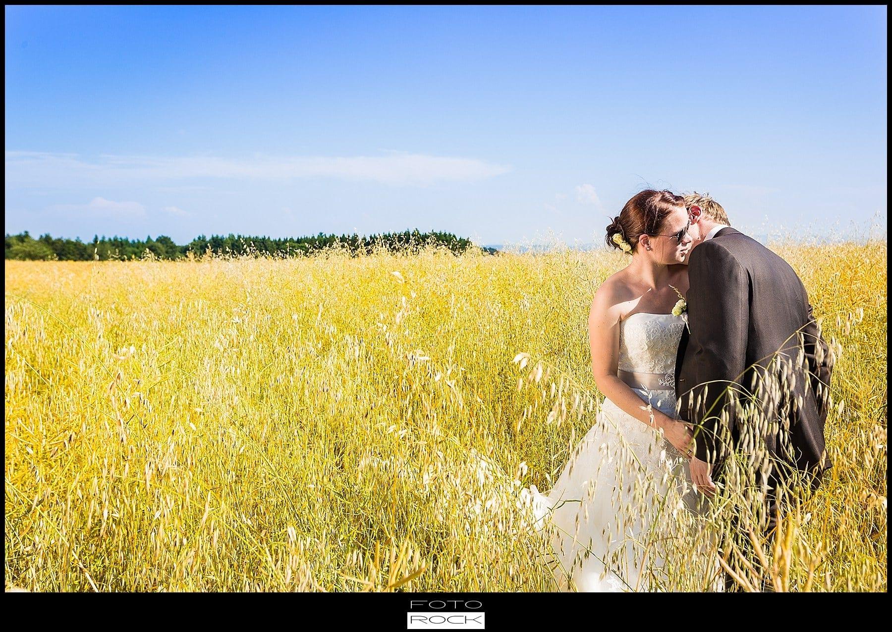 DIY Hochzeit Waldshut-Tiengen Brautpaar Feld Wiese Sonnenschein