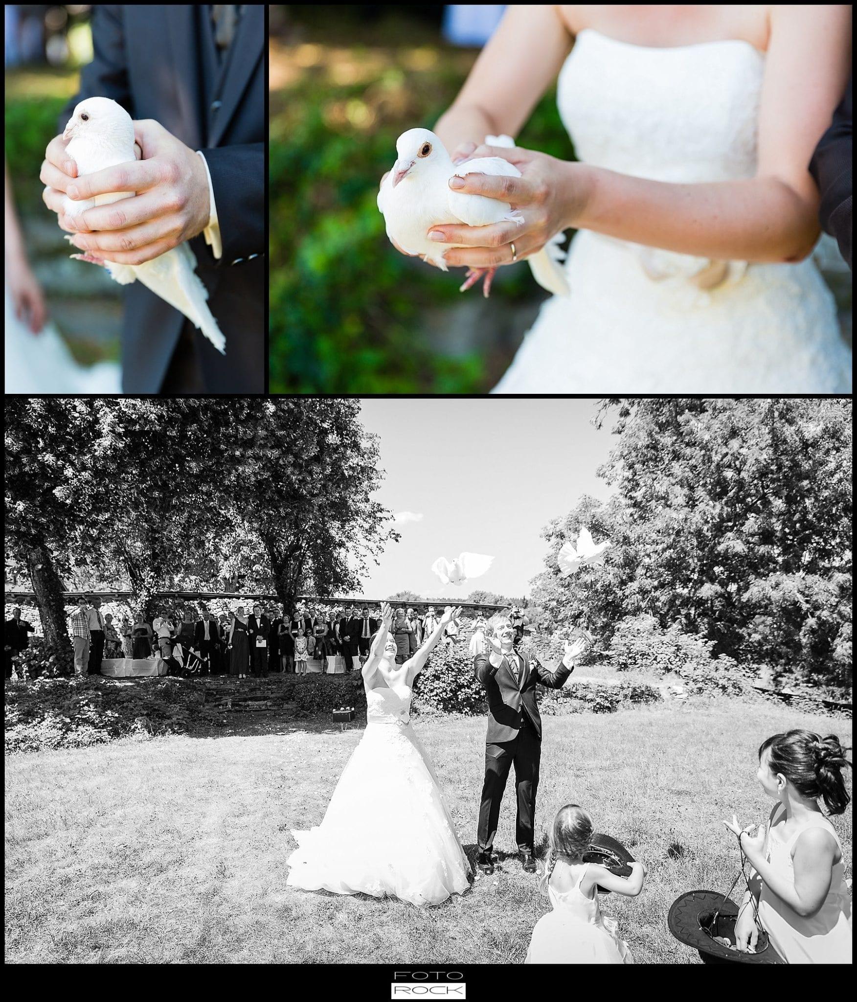 DIY Hochzeit Waldshut-Tiengen Brautpaar Tauben Outdoor