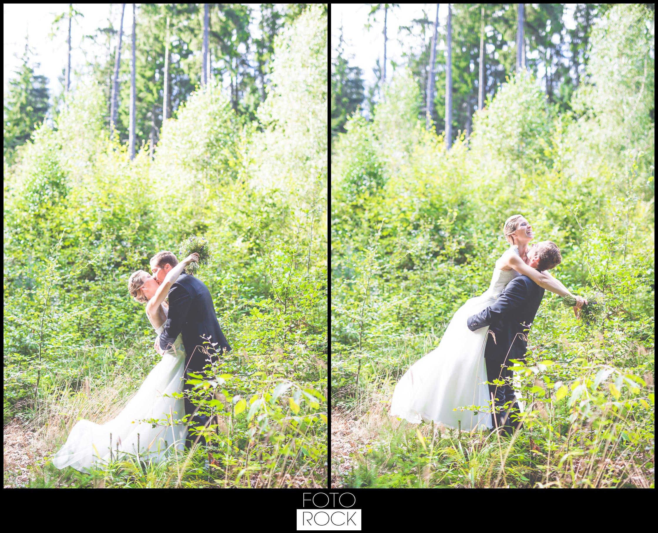 Hochzeit Elzach brautpaar kuss wald