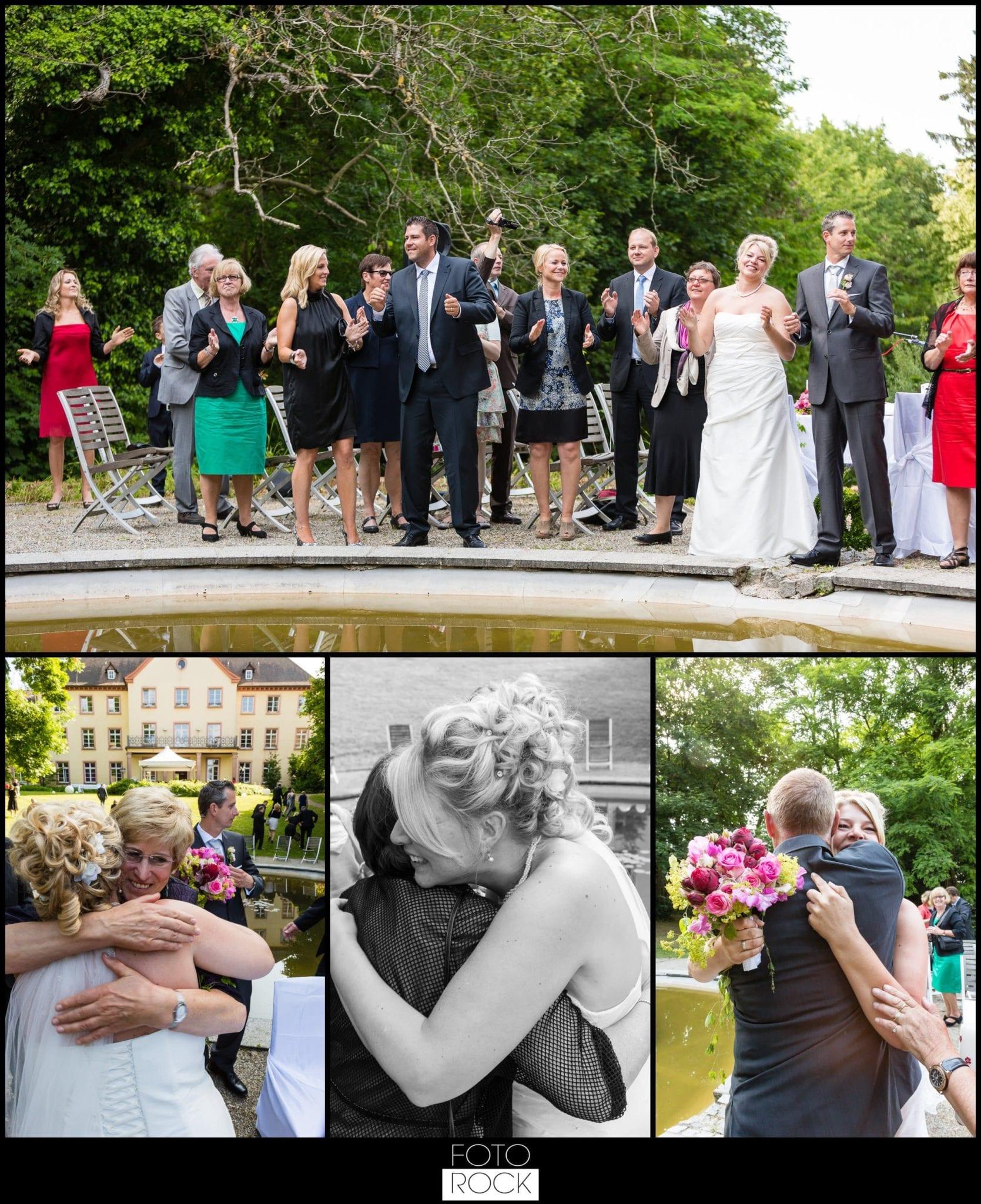 Hochzeit Jesuitenschloss Freiburg gratulation gäste umarmung
