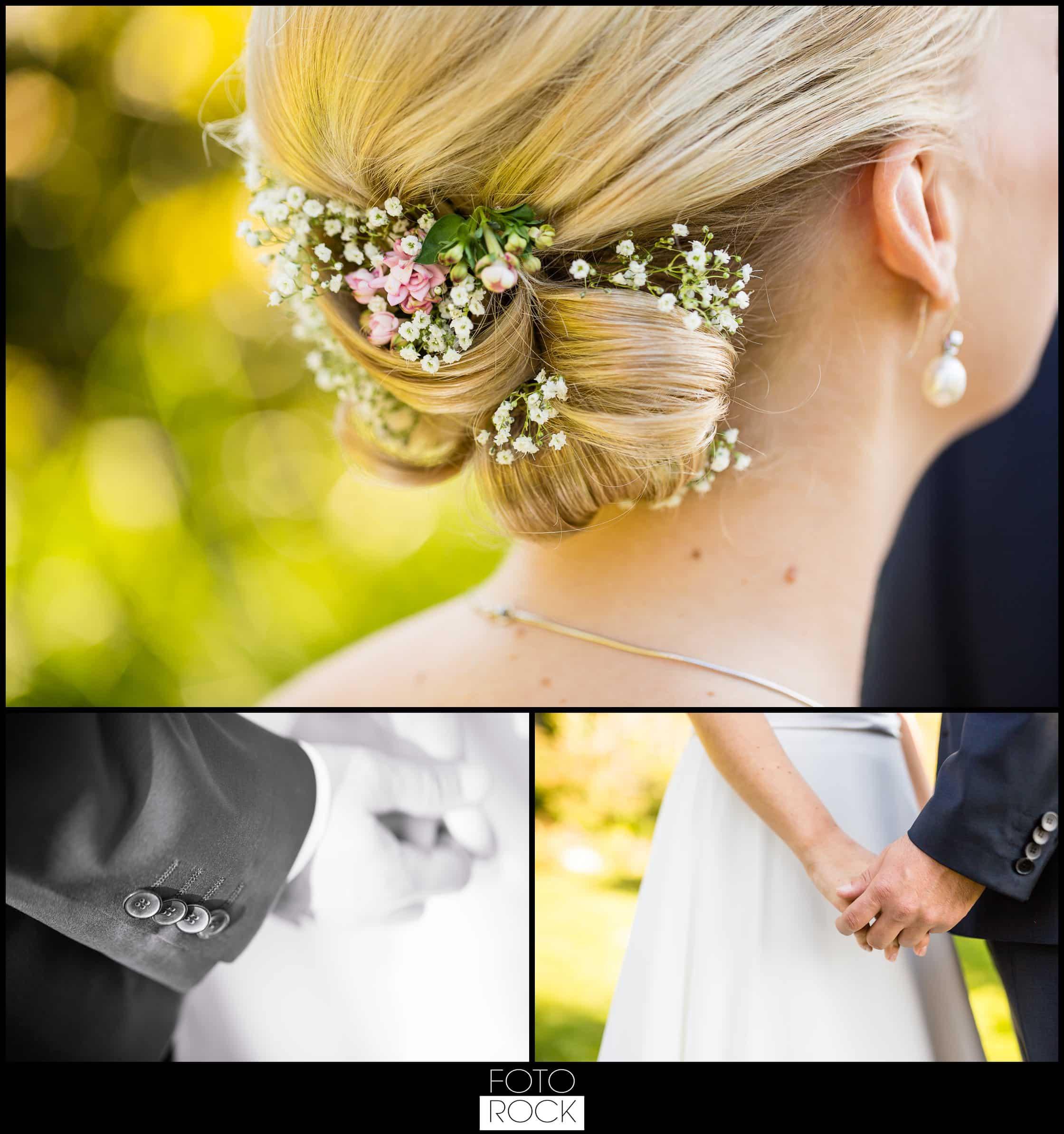 Hochzeit Adler Haeusern braut haar styling blumen
