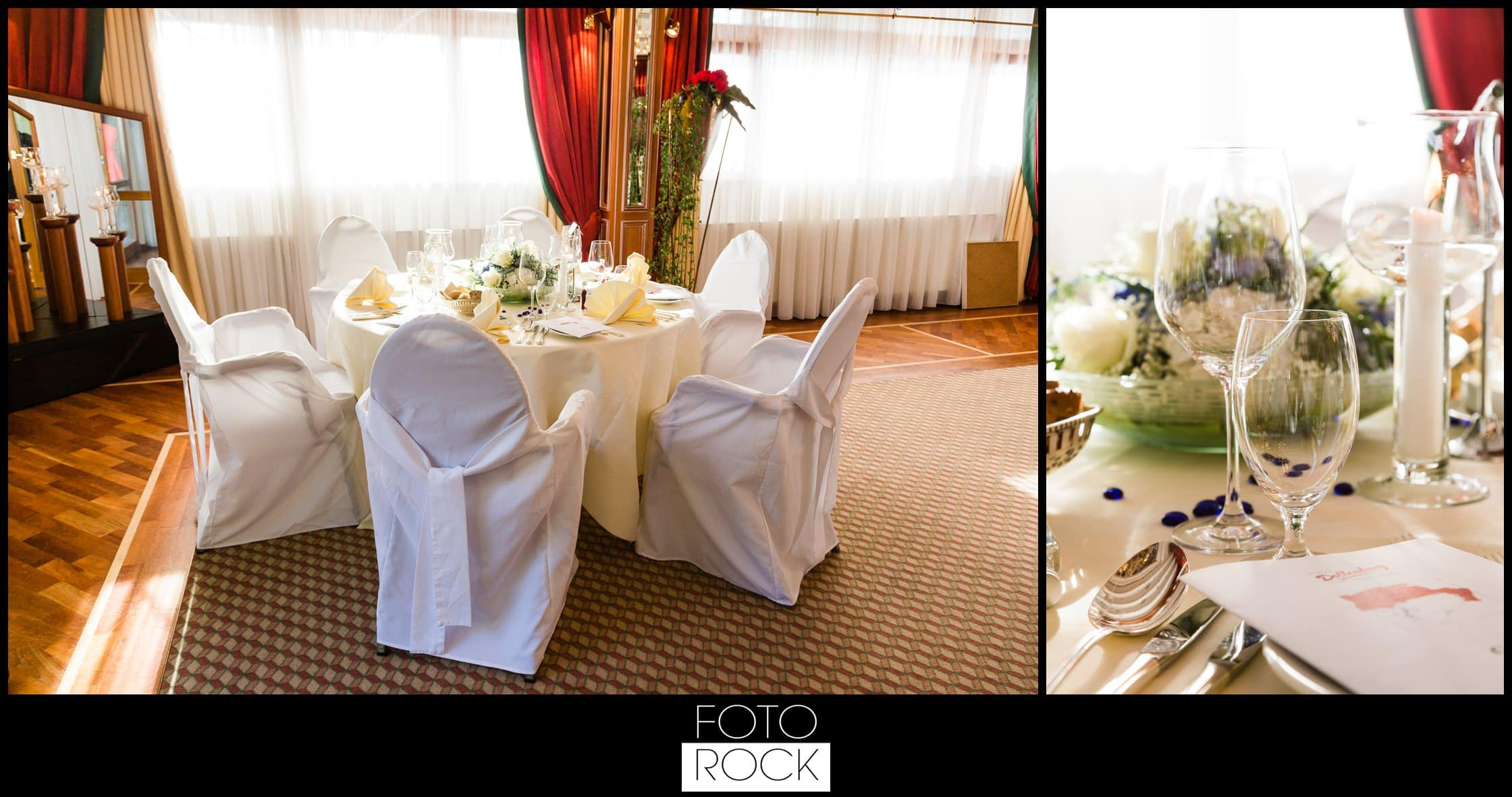 Hochzeit Dollenberg Bad Peterstal Deko Dekoration Tisch Stühle Blumen Kerzen Besteck