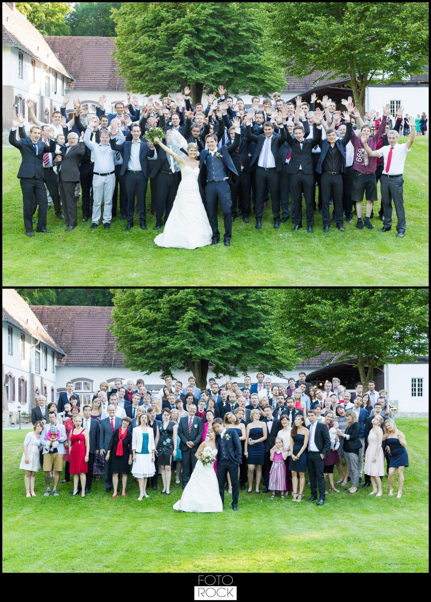 Hochzeit Lilienhof Ihringen Brautpaar Gäste Gruppenbild