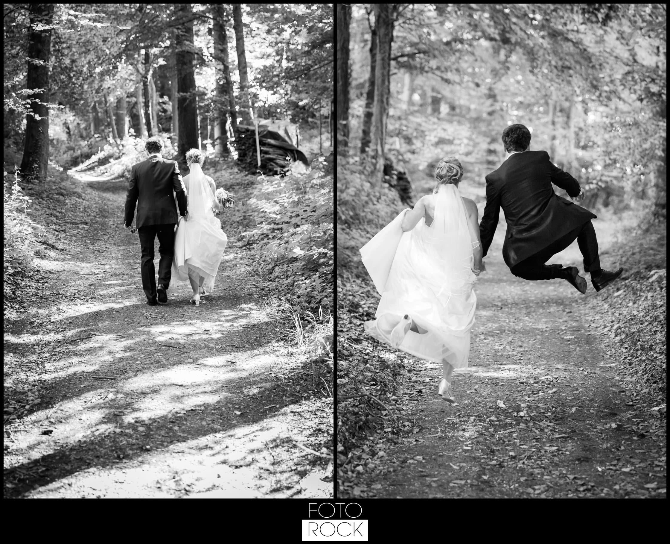 Hochzeit Lilienhof Ihringen Brautpaar Wald Sprung