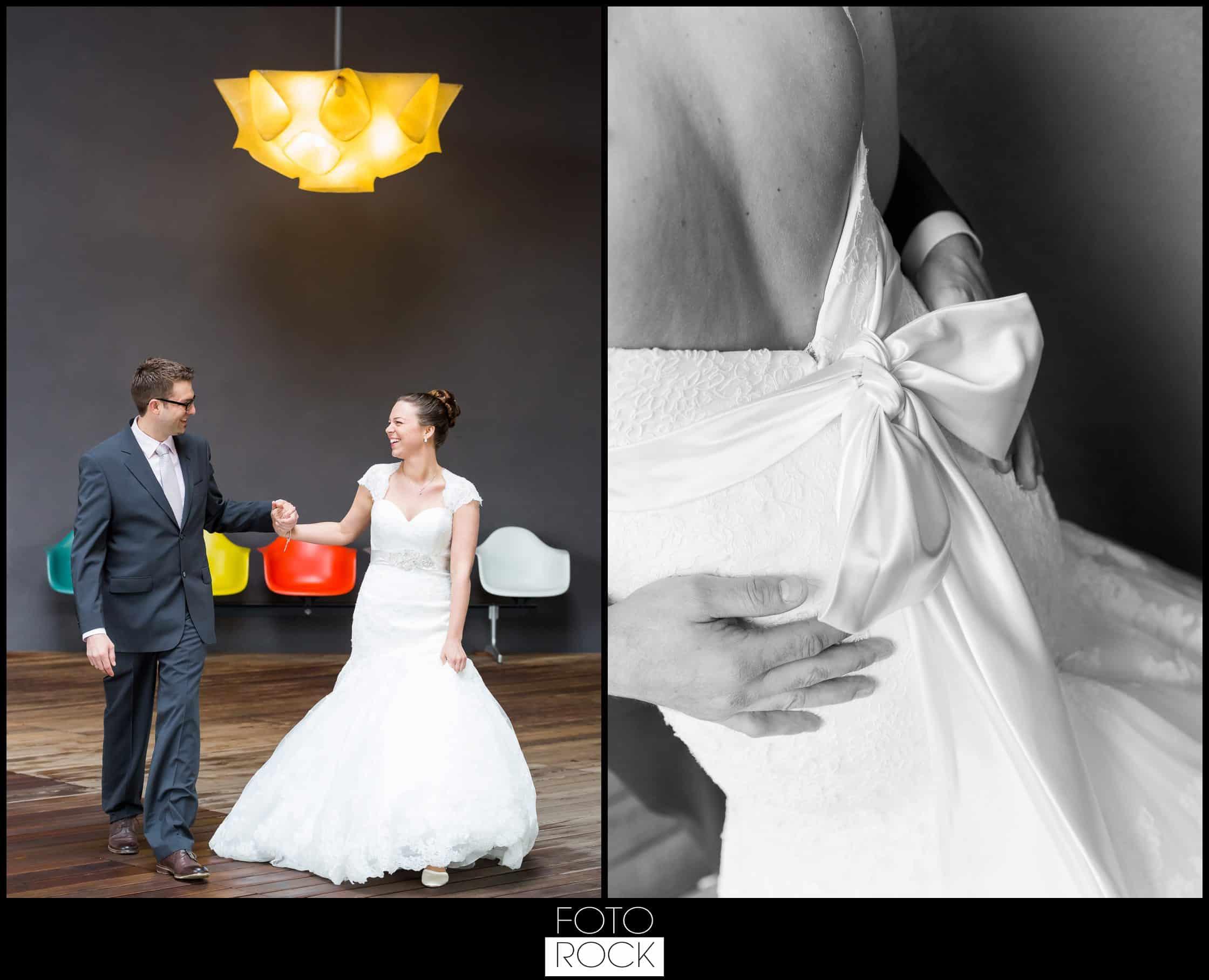 Hochzeit Vitra Design Museum Weil am Rhein Brautpaar Lampe Stühle Farben Brautkleid