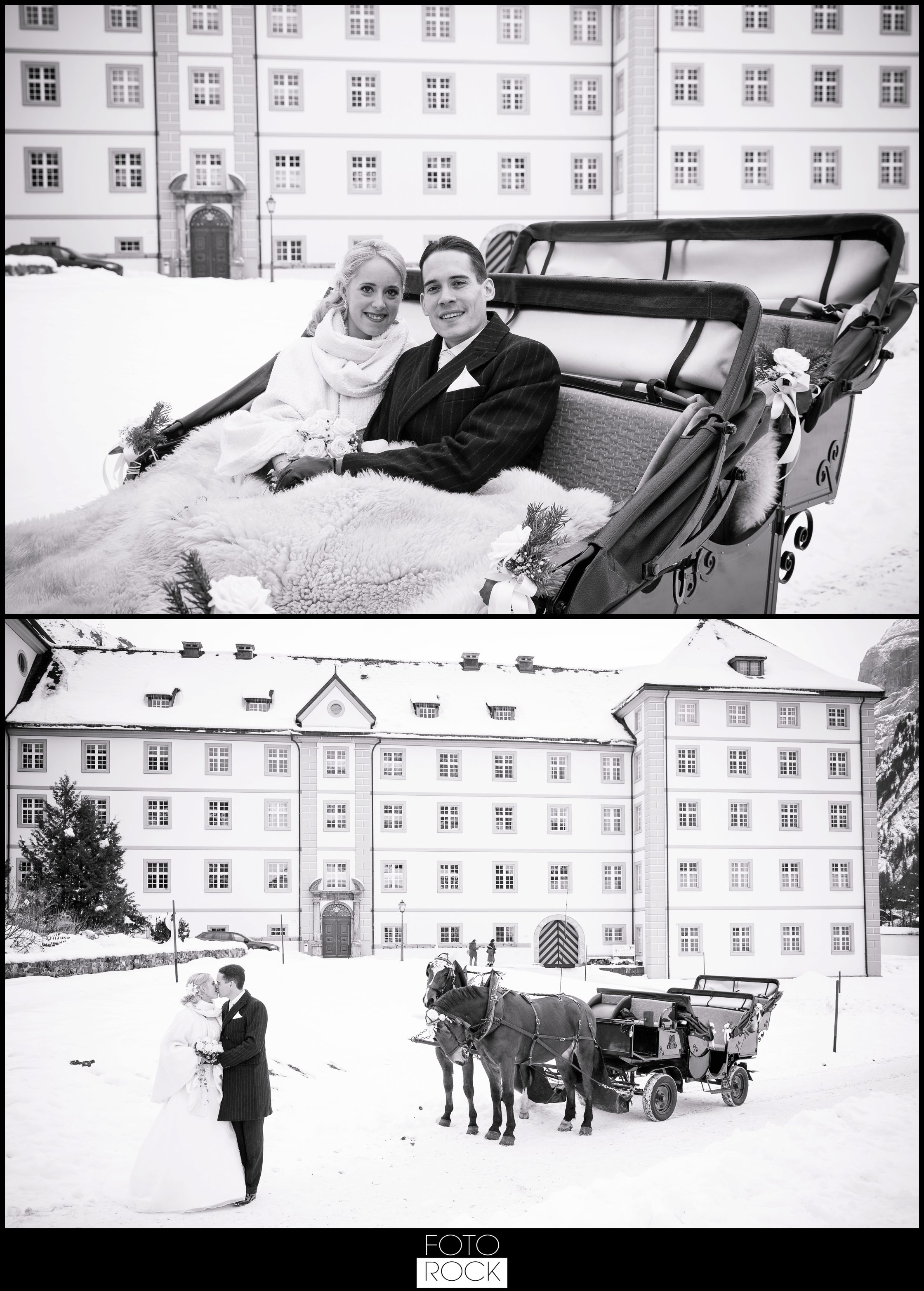 Hochzeit Winter Engelberg Pferde Kutsche Brautpaar Kloster