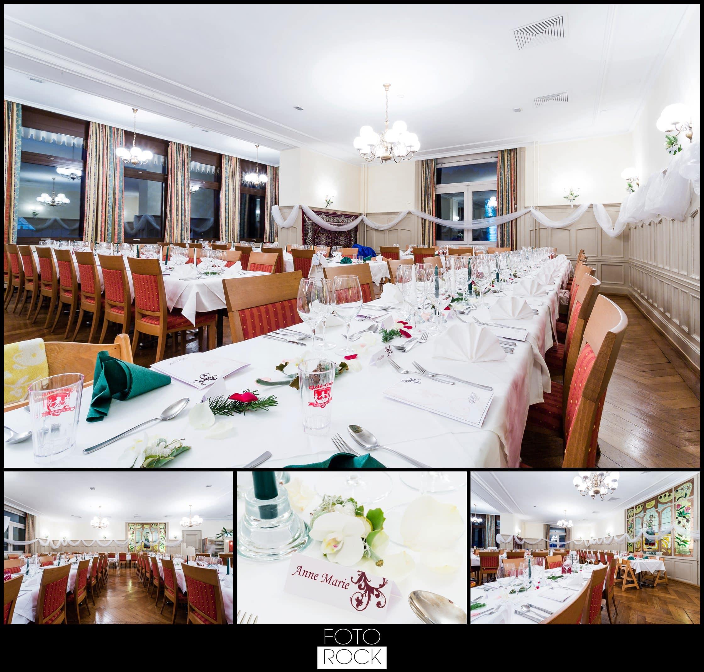 Hochzeit Winter Engelberg Deko Dekoration Blumen Gläser Tische Besteck Stühle
