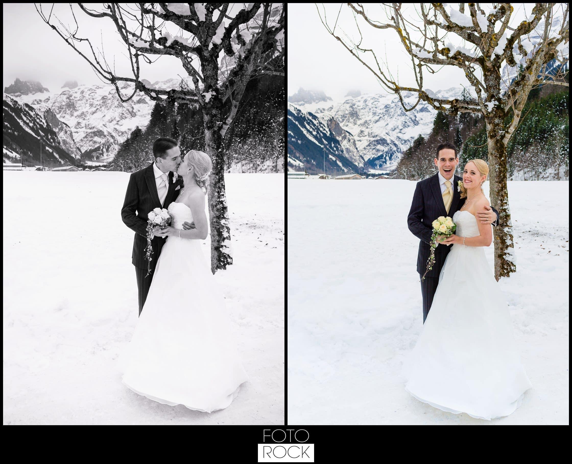 Hochzeit Winter Engelberg Brautpaar Panorama Landschaft Berge