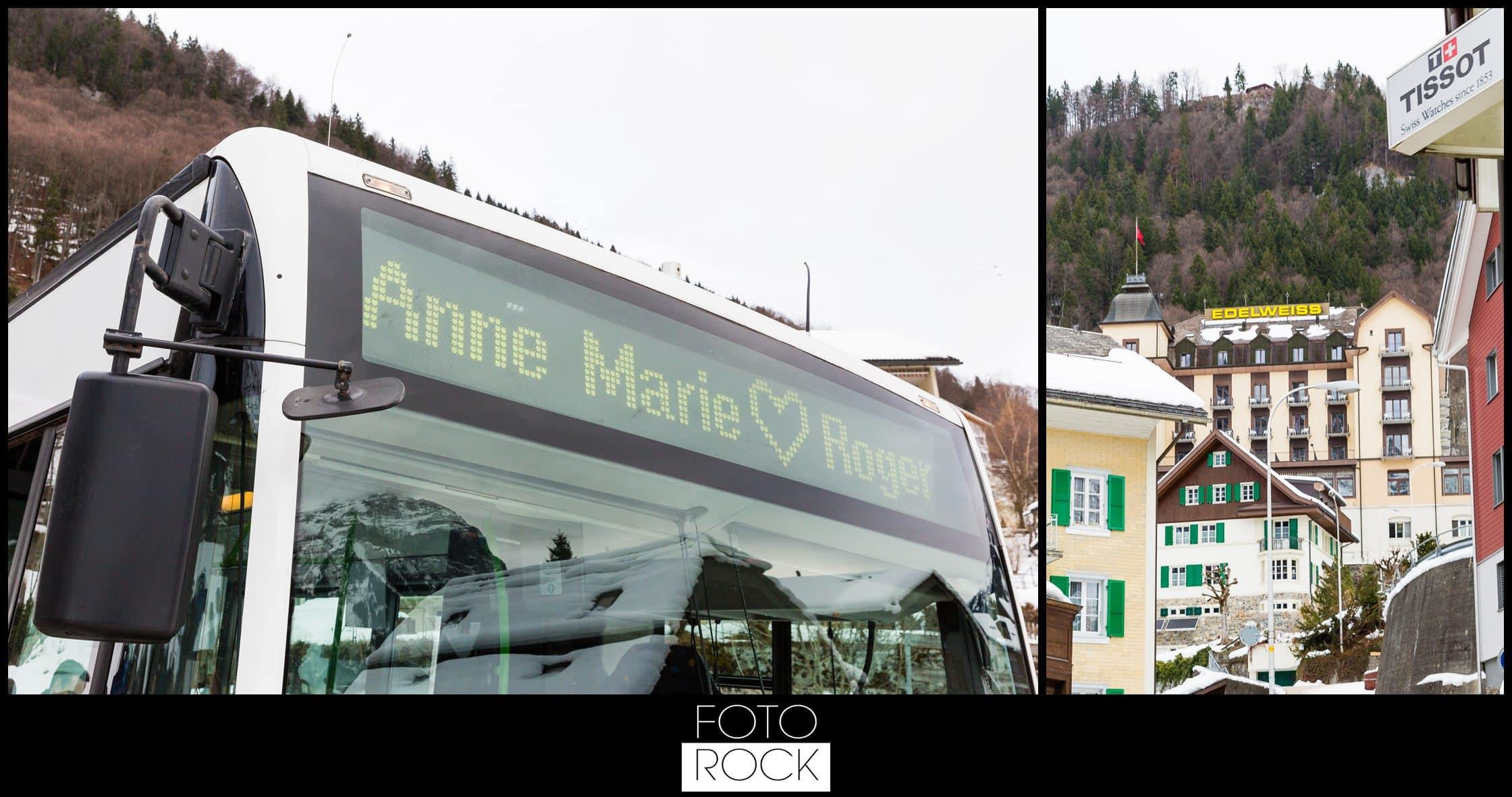 Hochzeit Winter Engelberg Hotel Edelweiss Bus