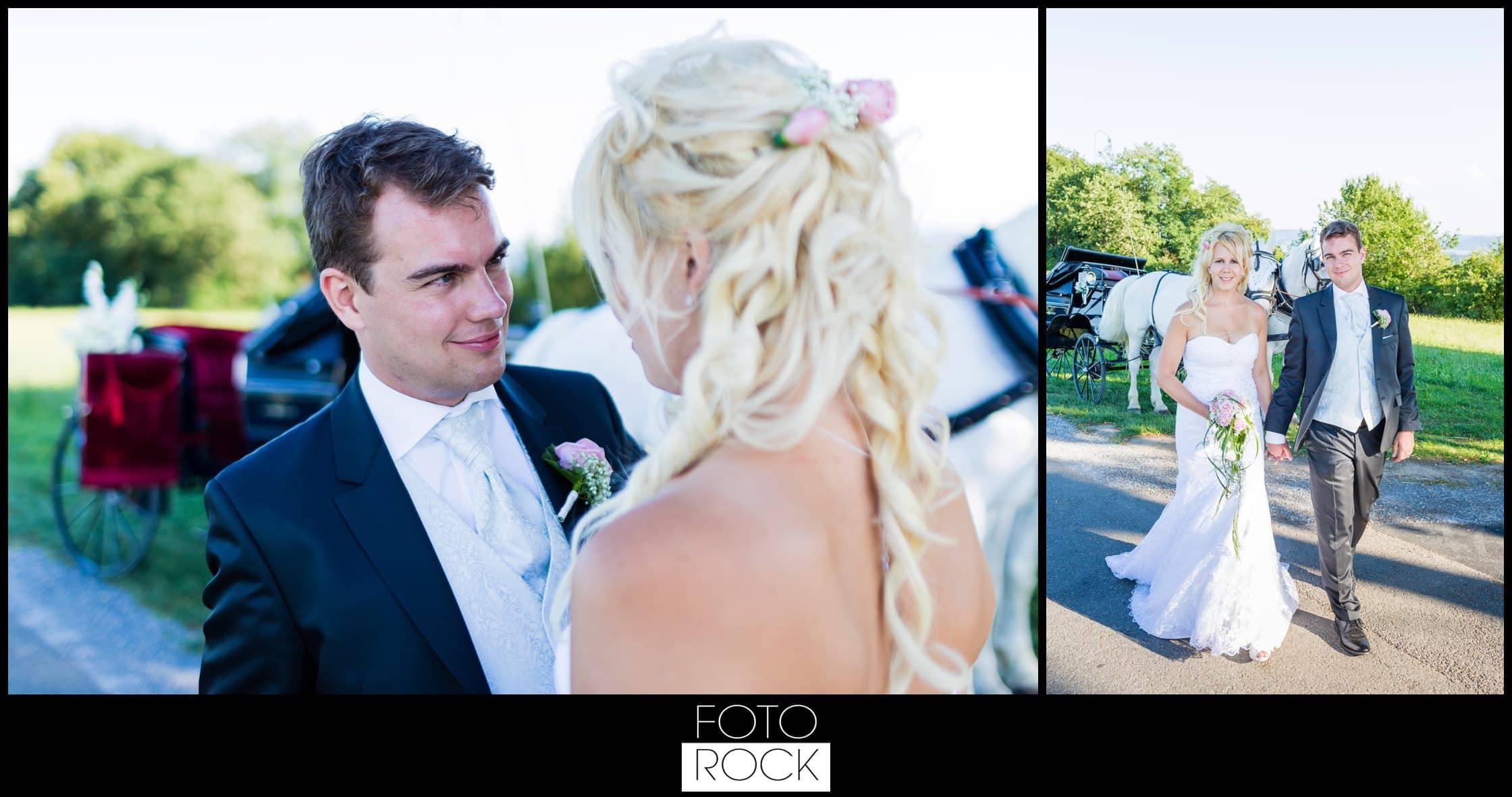 Hochzeit Rafz Albführen Brautpaar Pferde Kutsche
