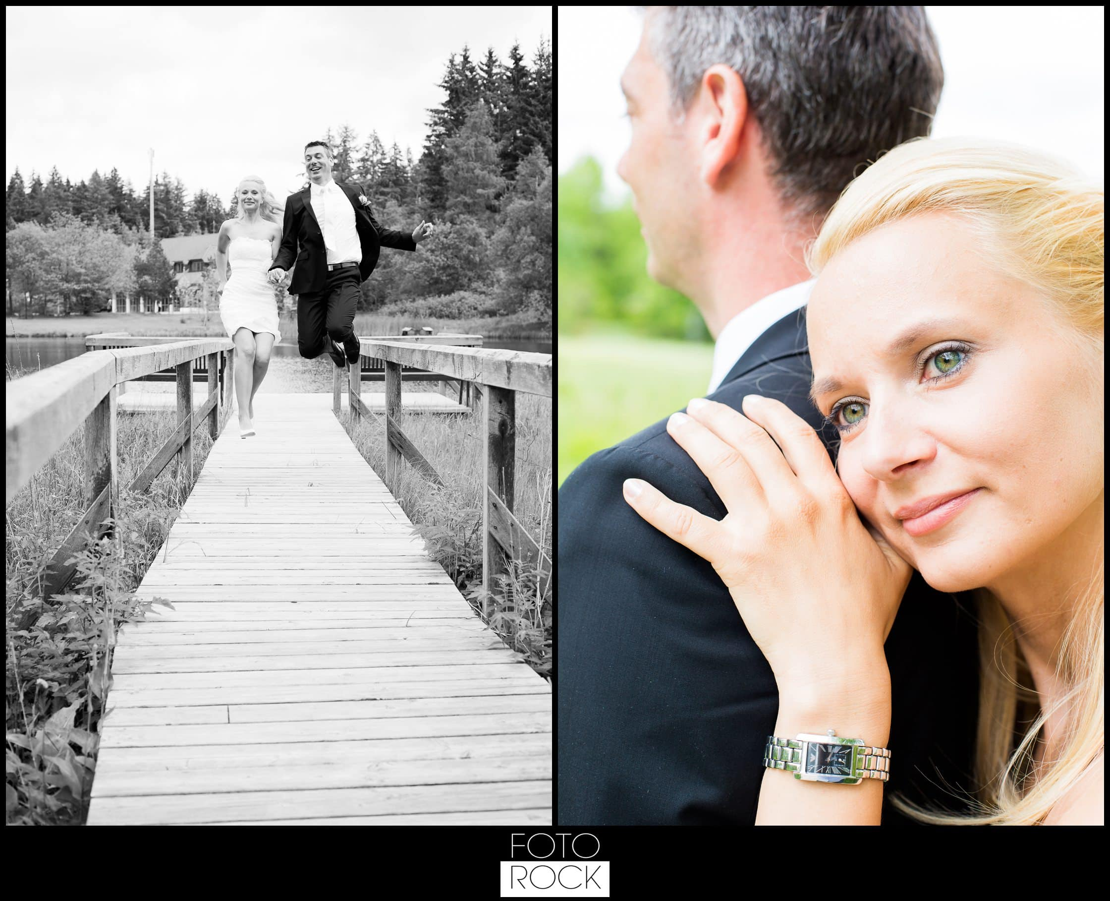 Hochzeit Parkhotel Adler teich steg brautpaar