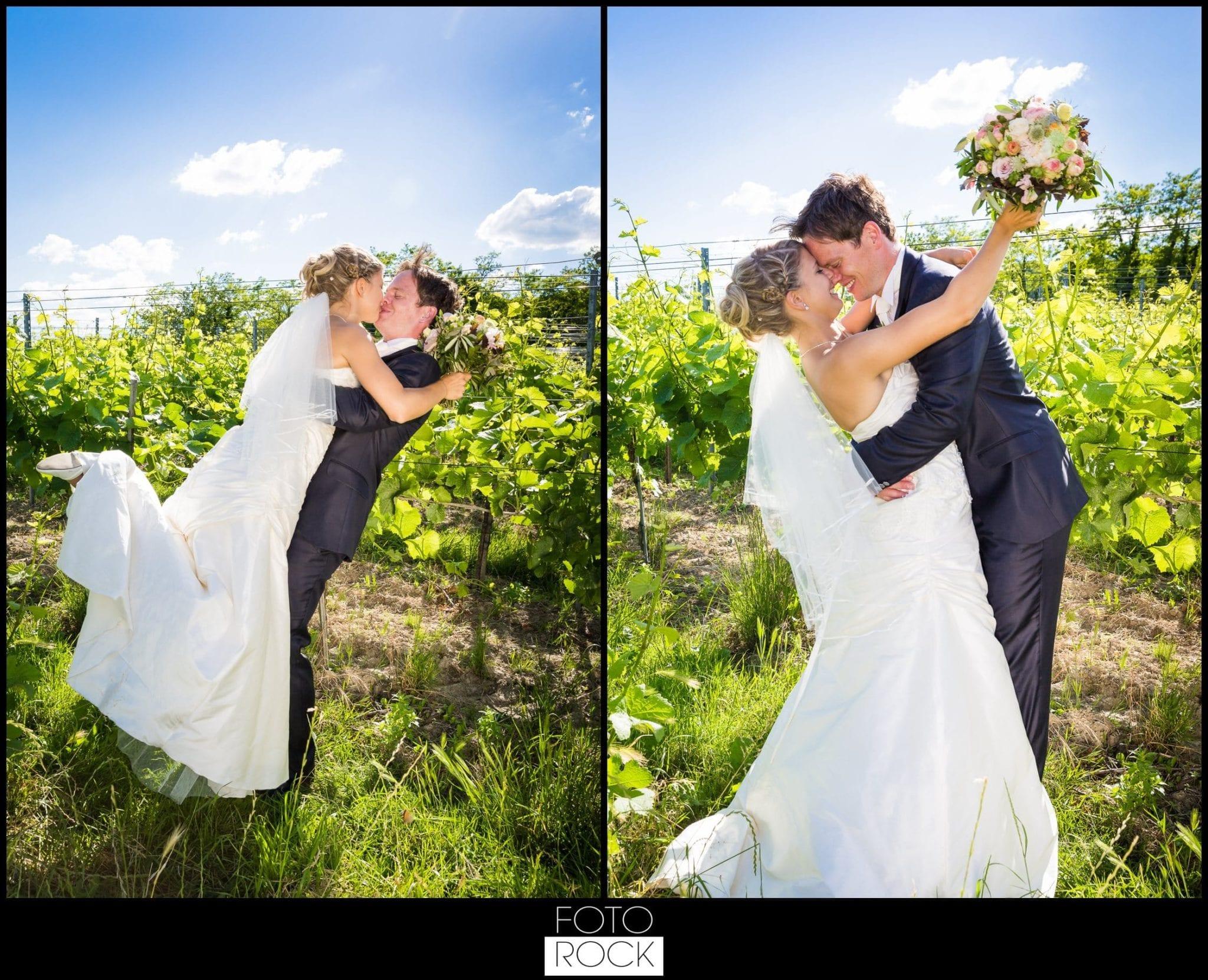 Hochzeit Lilienhof Ihringen Brautpaar Kuss Weinreben Brautstrauss