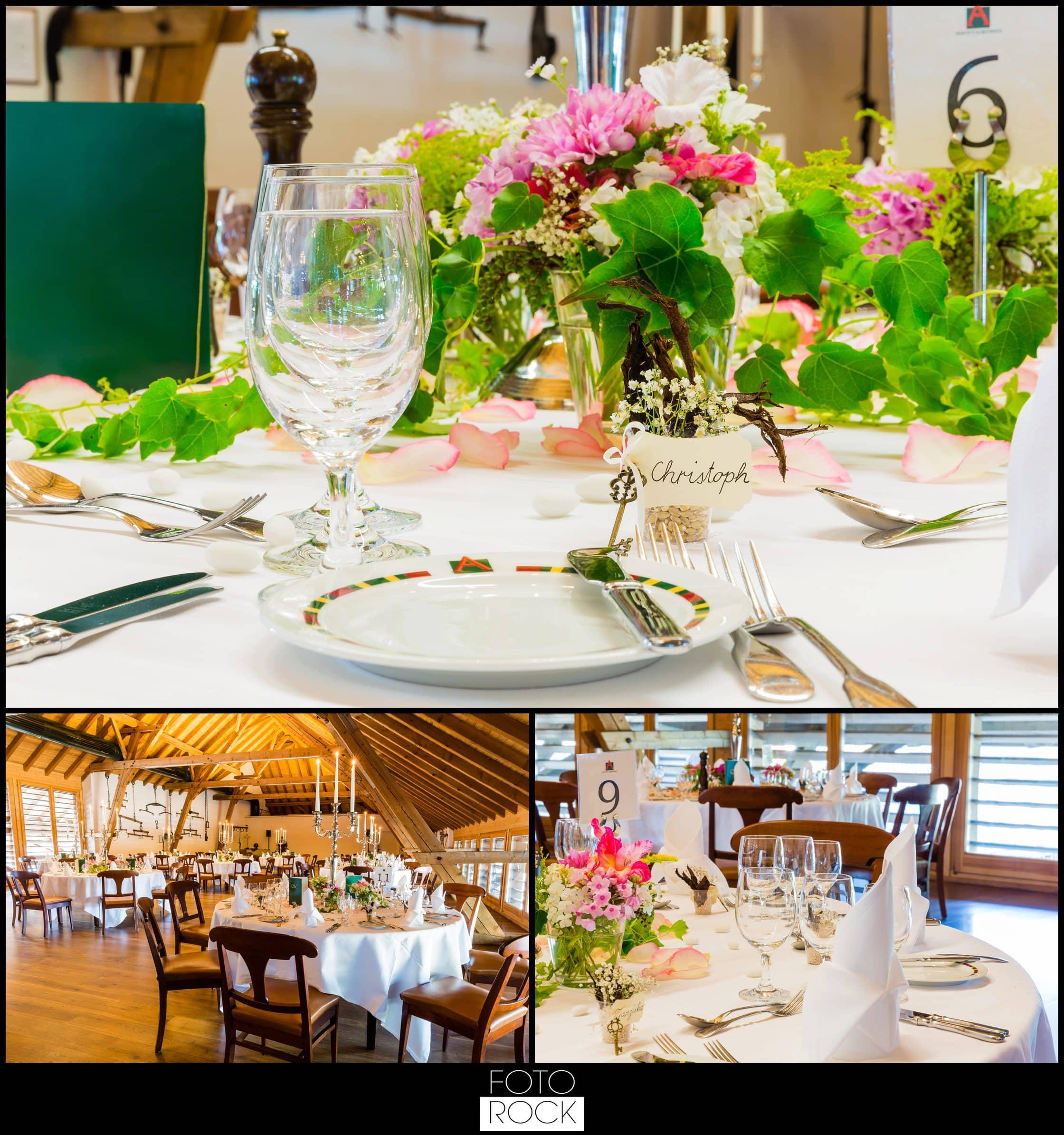 Hochzeit Rafz Albführen Location Holz Stühle Tische Deko Dekoration Kerzen Blumen