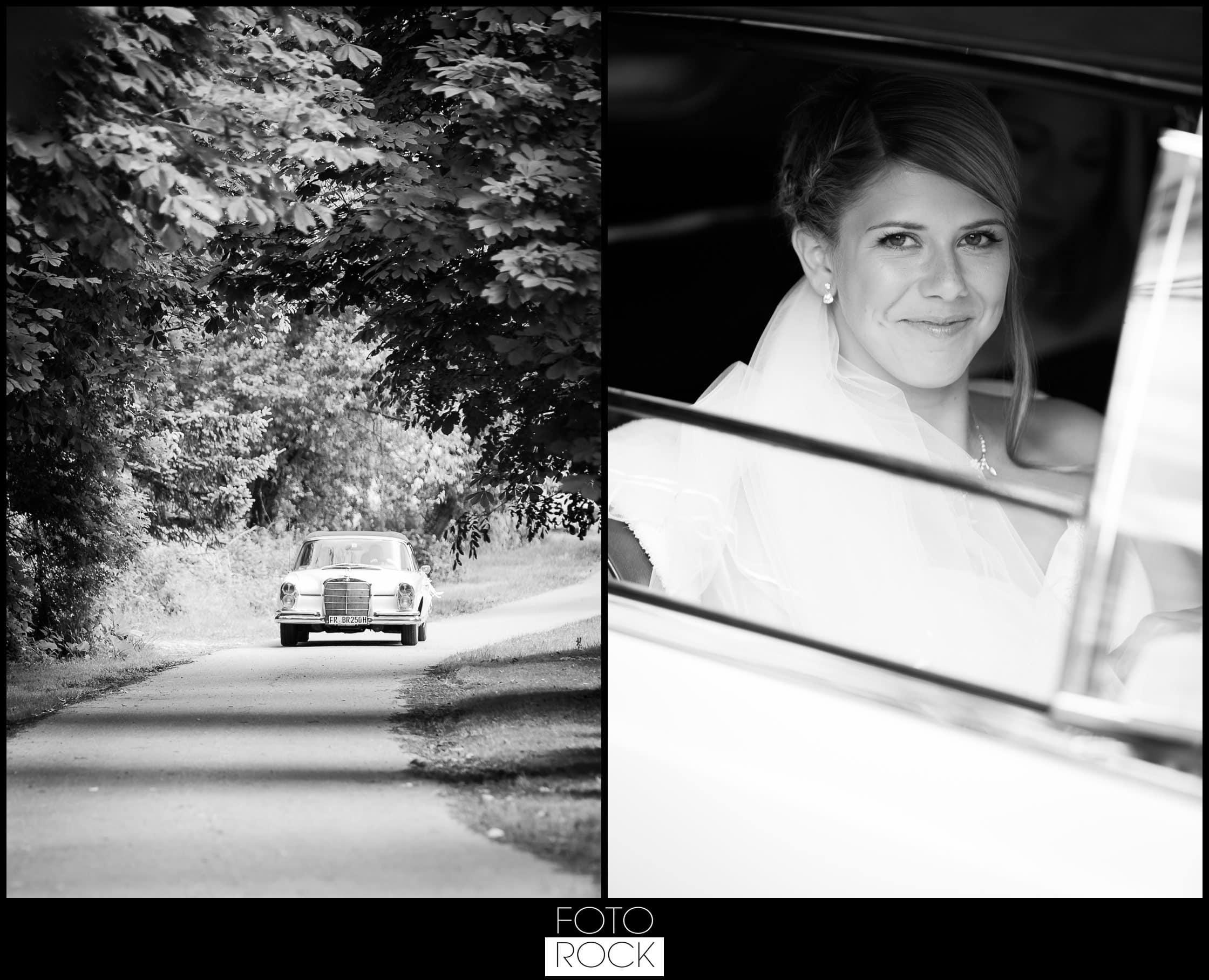 Hochzeit Lilienhof Ihringen Braut Mercedes Auto Oldtimer