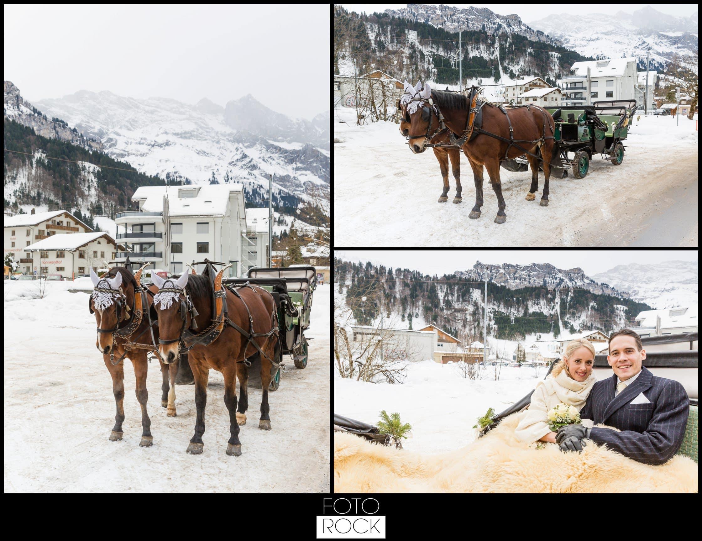 Hochzeit Winter Engelberg Pferde Kutsche Brautpaar
