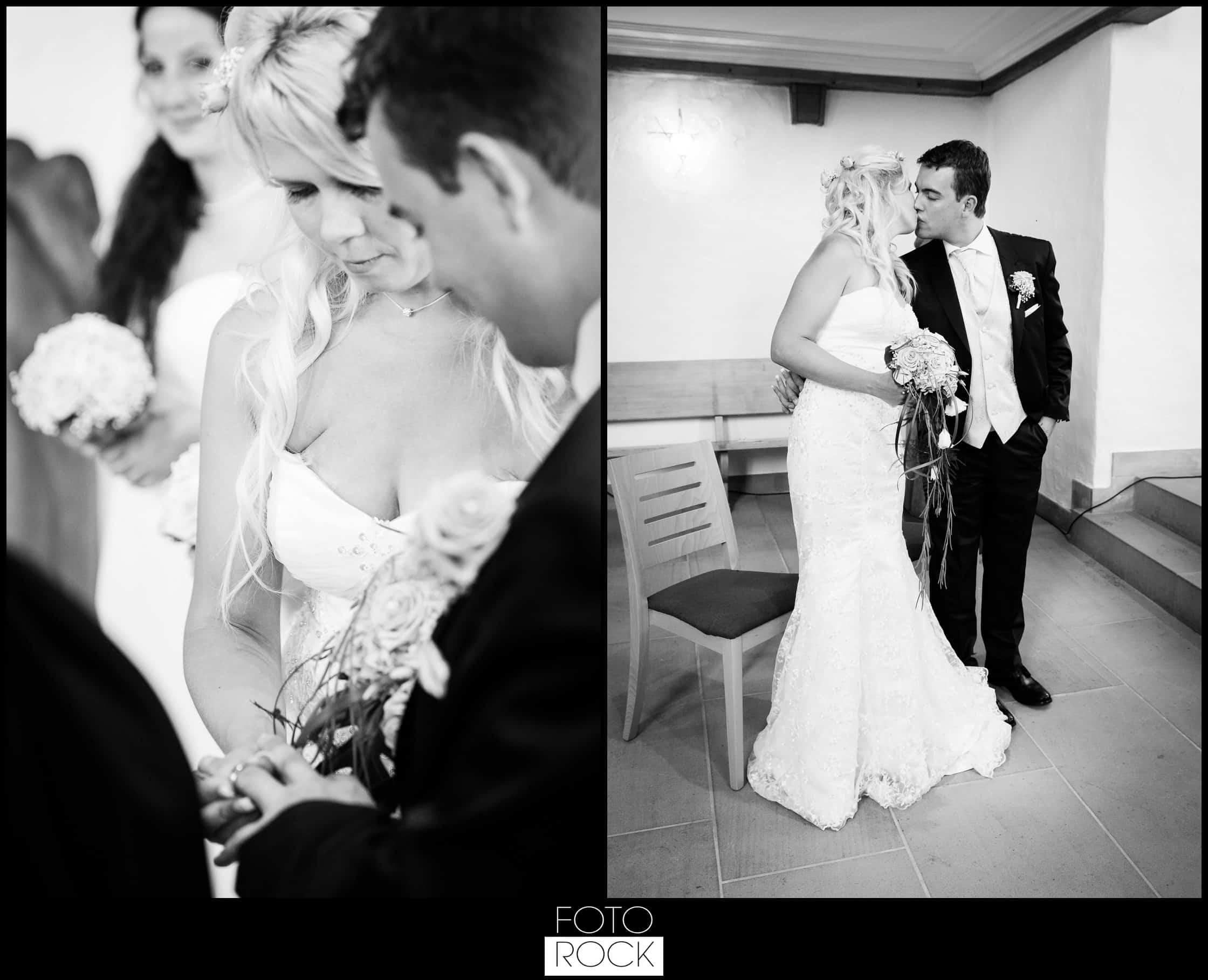 Hochzeit Raftz Albführen Brautpaar Ringtausch Kuss