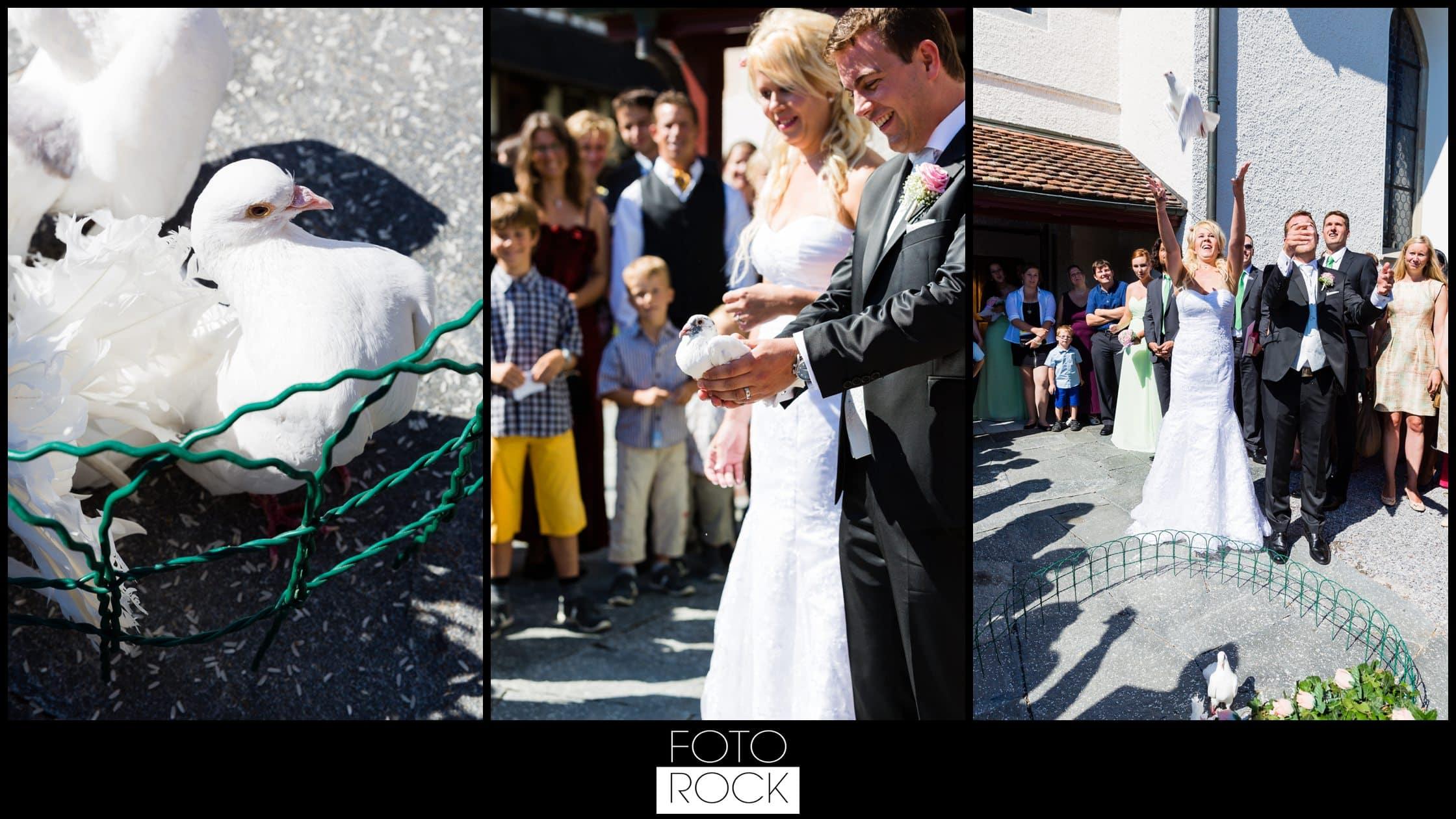 Hochzeit Rafz Albführen Brautpaar Tauben Fliegen