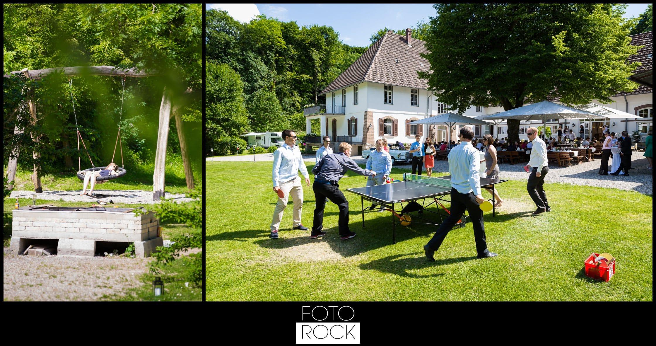 Hochzeit Lilienhof Ihringen Schaukel Tischtennis Gäste