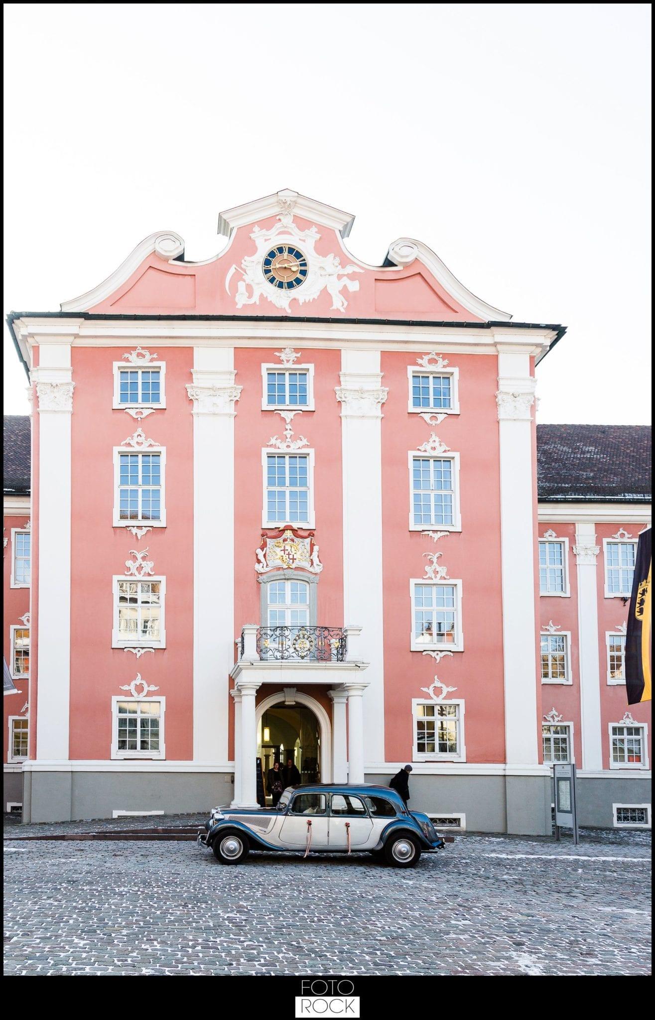 Hochzeit Schloss Meersburg Bodensee oldtimer auto