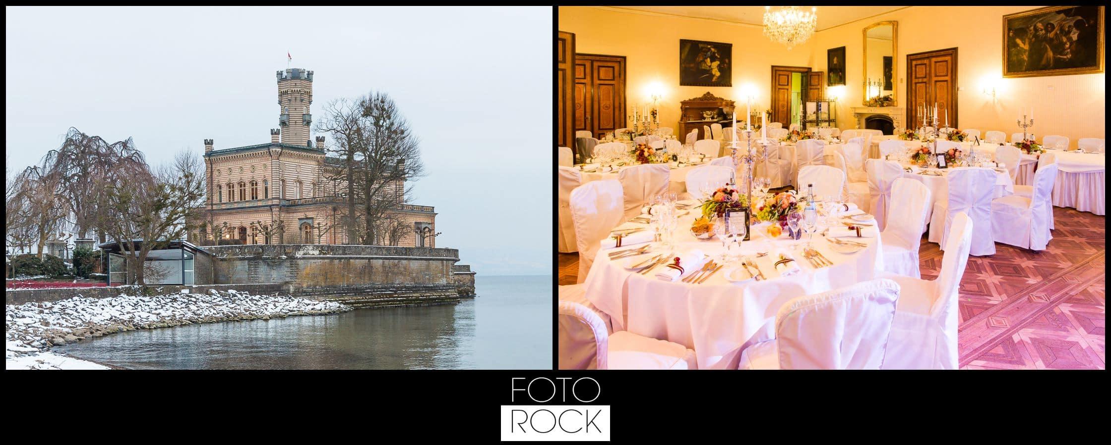 Hochzeit Schloss Meersburg Montfort Bodensee location deko dekoration tische stühle blumen