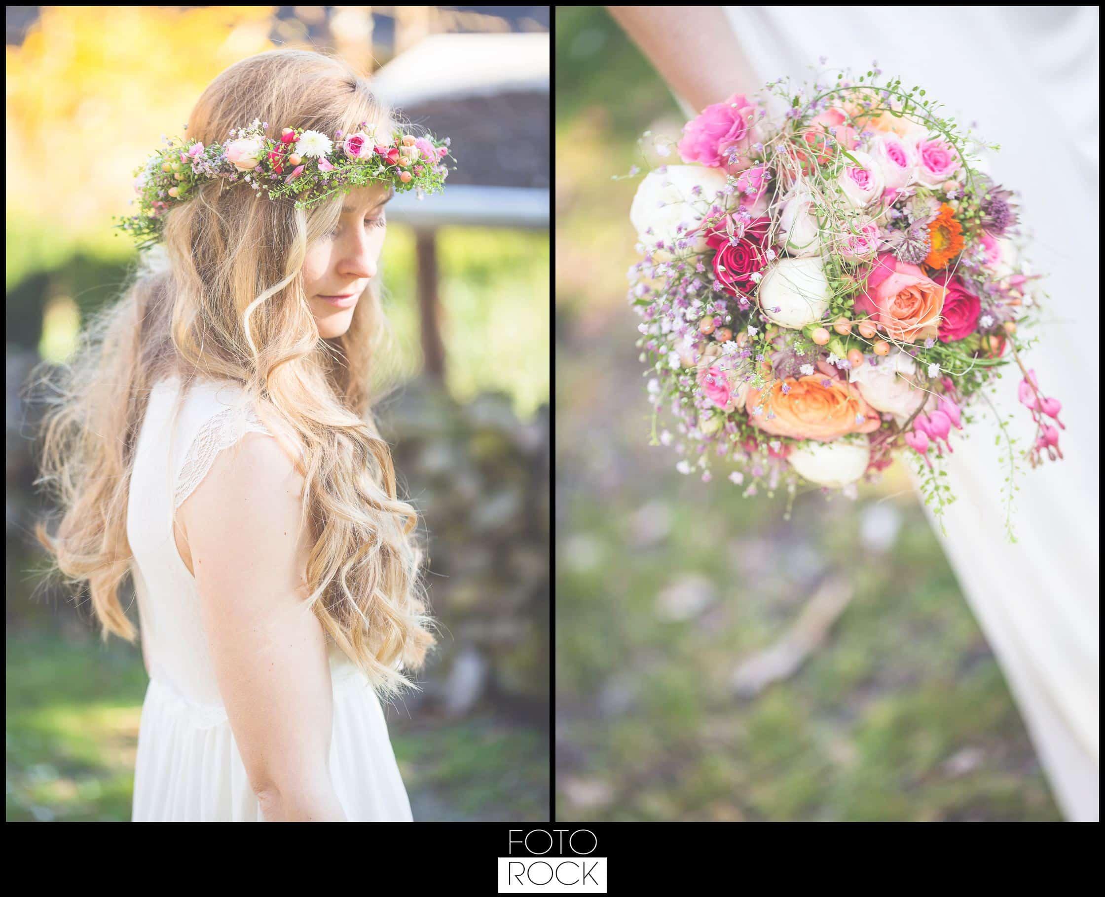 Bohemian Syled Shoot Hochzeit Klausenbauernhof Wolfach Braut Blumenkranz Brautstrauss Blumen