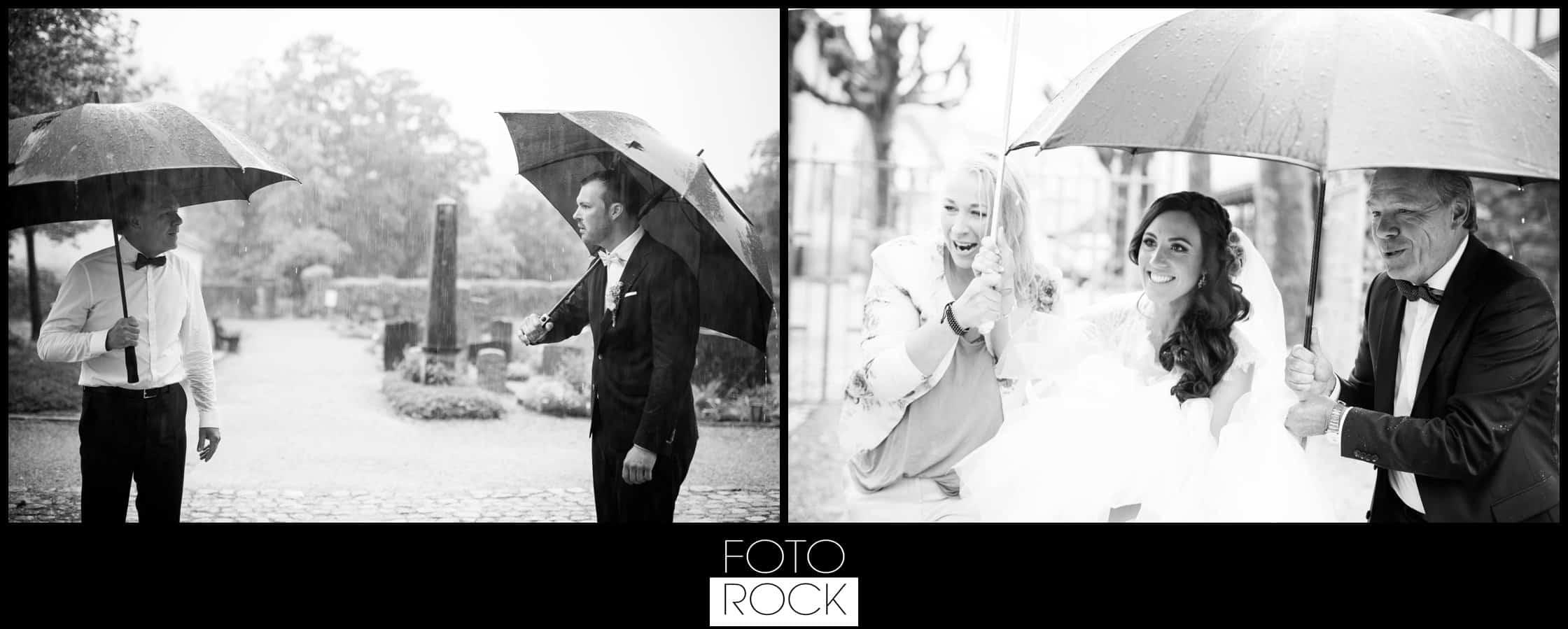 Hochzeit Lilienhof Ihringen Schirm regen Wetter Lachen