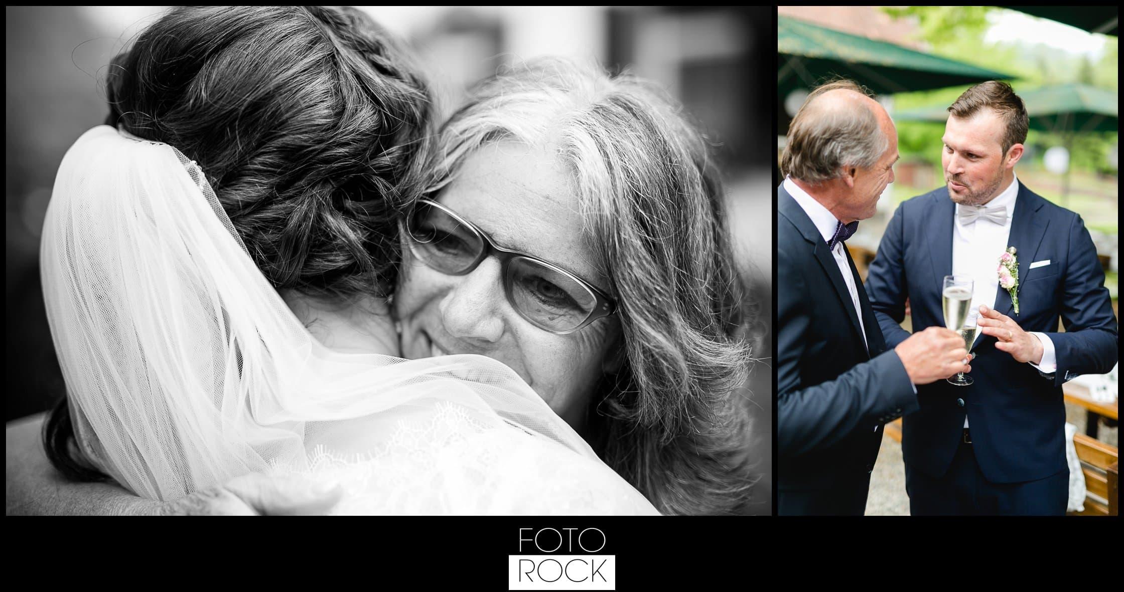 Hochzeit Lilienhof Ihringen Umarmung Brautpaar Sektempfang Sekt