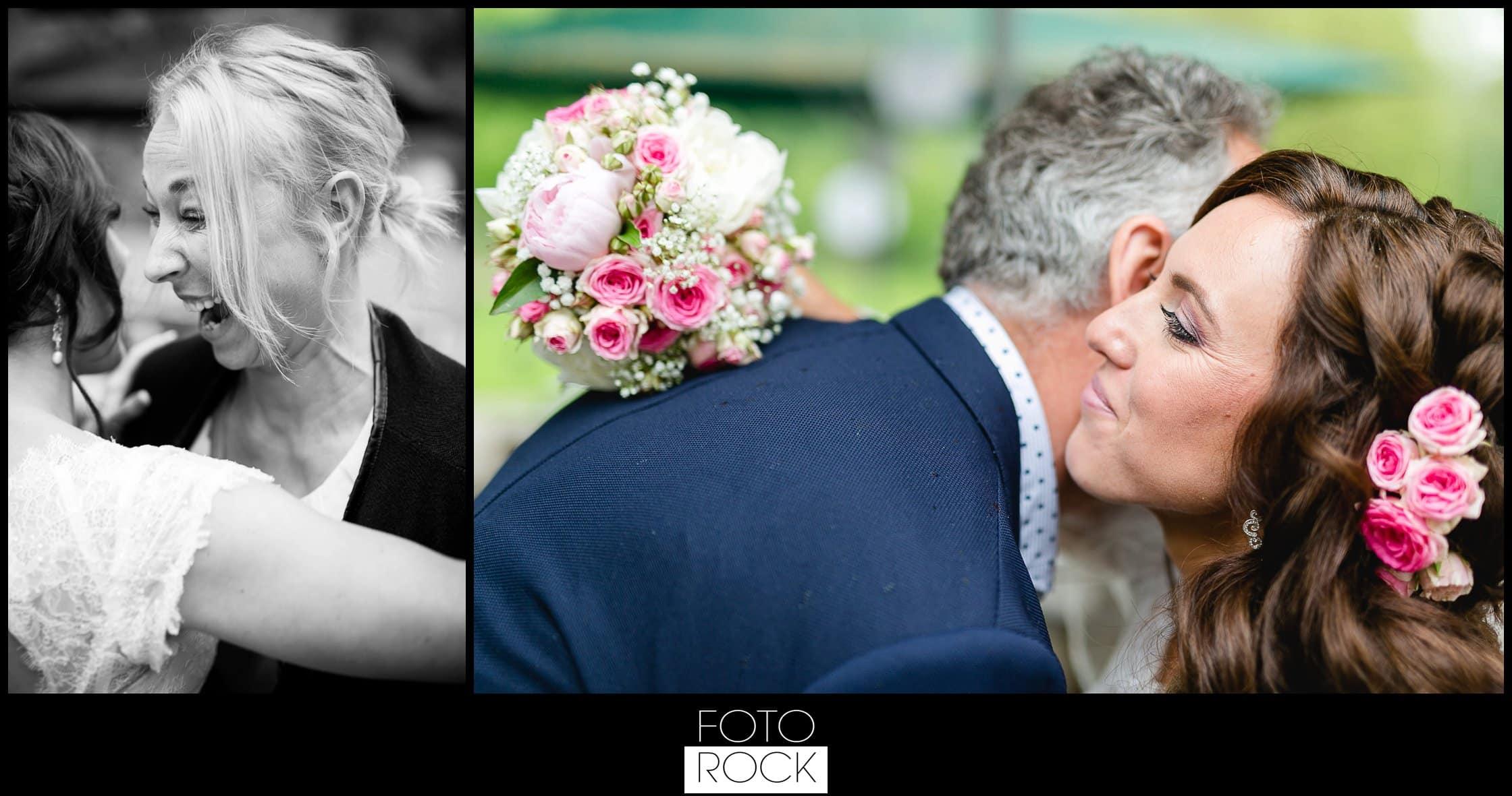 Hochzeit Lilienhof Ihringen Braut Glückwunsch Umarmung Blumen