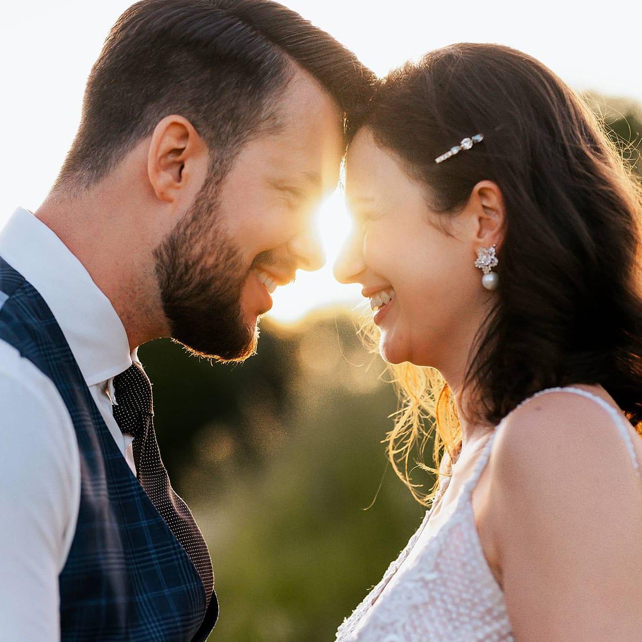 Hochzeitsfoto von dem Brautpaar.